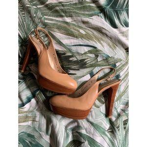 Stuart Weitzman leather platform sling back heels